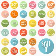 set of sale labels icons design with long shadow, vector eps10 - stock illustration