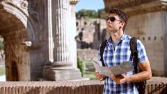 Young Tourist Lost Rome Map Looking Directions Vacation Stock Footage