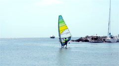 Wind Surfers Sailing Stock Footage