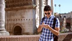 Young Handsome Man Walking Rome Lost Smartphone App Stock Footage
