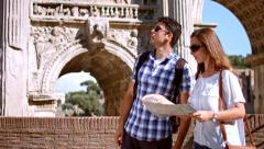 Man Woman Tourists Rome Italy Map Vacation Europe Concept Stock Footage