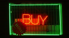 2488 Buy Sign at Pawn Shop With Steel Bars on the Window, 4K Stock Footage