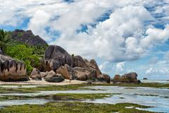 tropical paradise at anse source d'argent - stock photo