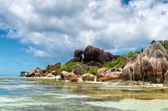 Untouched paradise at anse source d'argent Stock Photos
