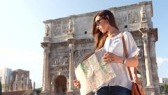 Beautiful Young Woman Tourist Rome Holding Map Directions Stock Footage
