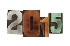 year 2015 written with vintage printing blocks - stock photo