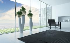 living room interior with a panoramic glass wall - stock illustration