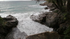 Powerful waves on Mediterranean sea Stock Footage
