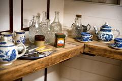 Display of crockery and cutlery on the cutty sark Stock Photos