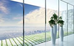 design flower pots against huge window - stock illustration
