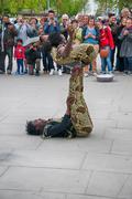 jamaican acrobats doing a contortion show - stock photo