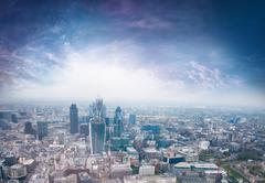 aerial overview of city of london - stock photo