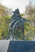 famous genghis khan statue in london - stock photo
