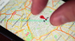 Somebody is using Google maps application - stock footage