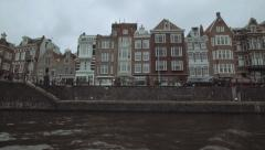 Amsterdam Canal From a Canal Boat POV Stock Footage