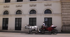 Ultra HD 4K Vienna Old Town Tourist Horse Carriage Coach Fiacre Passing Landmark Stock Footage