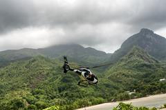 Scenic flight using chopper in seychelles Stock Photos