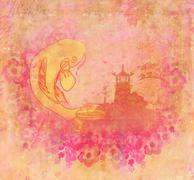 Japanese koi and ancient building background Stock Illustration
