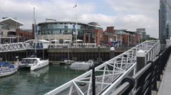 Zoom in, gunwharf quays, portsmouth, england Stock Footage