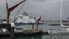 Wightlink ferry enters portsmouth from isle of wight, england Stock Footage