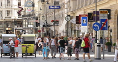 UltraHD 4K Bicycle Tour Graben Shopping Street Vienna Crowded Pedestrians Zone Stock Footage