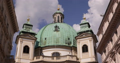 UltraHD 4K Peter Church Baroque Roman Catholic Parish Building Vienna Landmark Stock Footage