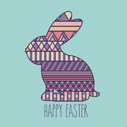 Stock Illustration of happy easter over blue  background vector illustration