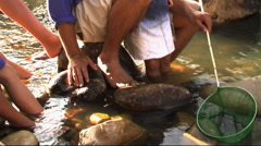Family in Park, fishing in river Stock Footage