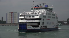 Wightlink isle of wight ferry arrives at portsmouth, england Stock Footage