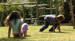 Children playing in garden Stock Footage