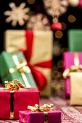 Xmas gifts, glitters and stars Stock Photos