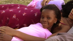Family in Park, young girl Stock Footage
