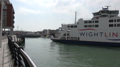 Wightlink isle of wight ferry comes into dock at portsmouth, england Stock Footage