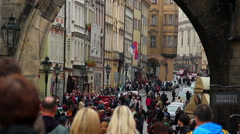 Old town in Prague, city tourists on weekend day, Czech Stock Footage