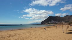 Landscape, coast and beach Las Teresitas view, Tenerife, Canary islands. Stock Footage
