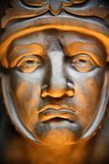 Close up roman human face sculpture art Stock Photos