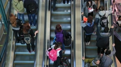 People on escalator at Incheon International Airport Stock Footage