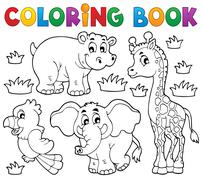 coloring book african fauna - illustration. - stock illustration