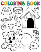 coloring book dog theme - illustration. - stock illustration