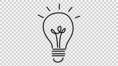 Thought bulb idea line drawing illustration animation with transparent backgroun Stock Footage