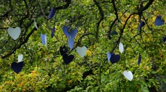 Love tree, cardboard heart shaped papers hanged for lovers Stock Footage