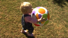 Baby in Park with ball - stock footage