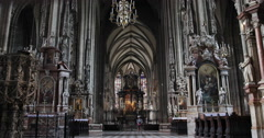 UHD 4K Building Inside St. Steven Cathedral Stephansdom Vienna Stephen Church - stock footage