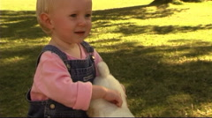 Baby in Park with teddy bear - stock footage