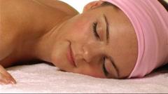 Woman having beauty treatment/massage Stock Footage