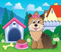 image with dog topic - illustration. - stock illustration