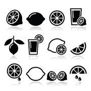 Lemon, lime icons set Stock Illustration