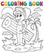 Coloring book summer activity - illustration. Stock Illustration