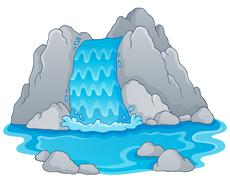 image with waterfall theme - illustration. - stock illustration
