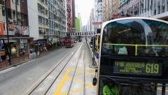 Downtown streets view seen from double decker bus in Hong Kong, China Stock Footage